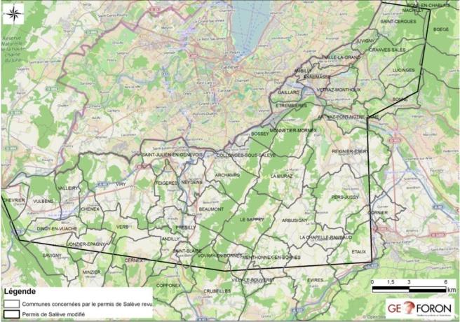 Carte des communes concernées par le nouveau périmètre du permis de Salève